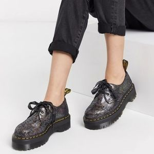 Dr Martens Molly Gunmetal Iridescent Crackle Boots